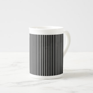 Back and White Pinstripe Tea Cup