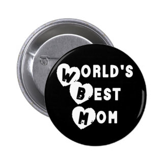 Back and White World's Best Mom Hearts Button