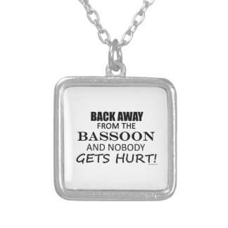 Back Away From The Bassoon Square Pendant Necklace