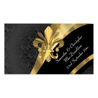 Back damask gold wedding favor thank you tag business card template