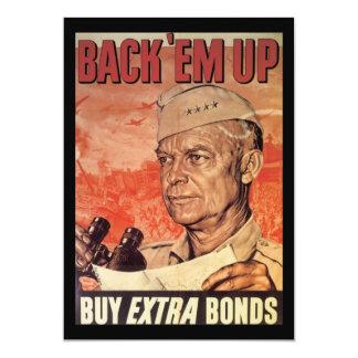 "Back 'Em Up World War 2 5"" X 7"" Invitation Card"