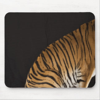 Back end of tiger sitting on platform mouse pad