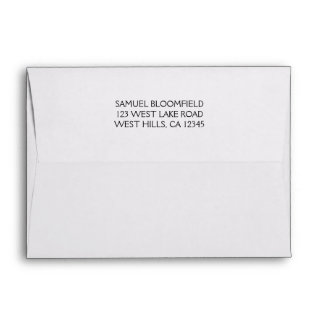 Back Flap Return Address 5 x 7 White Envelope