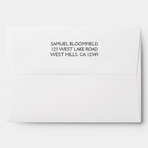 Back Flap Return Address 5 x 7 White Envelope