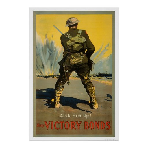 Back him up buy victory bonds poster zazzle for Buy cheap posters online