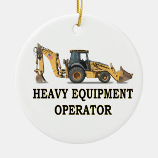 BACK HOE LOADER Double-Sided CERAMIC ROUND CHRISTMAS ORNAMENT