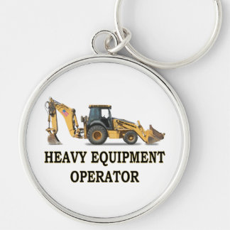 BACK HOE LOADER Silver-Colored ROUND KEYCHAIN