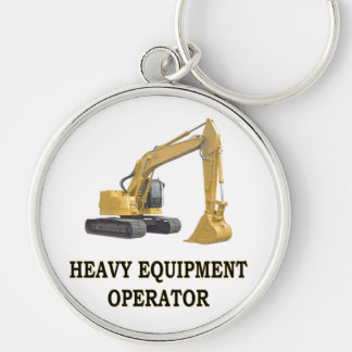 BACK HOE Silver-Colored ROUND KEYCHAIN