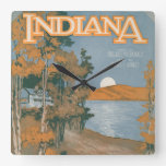 Back Home Again In Indiana Square Wall Clock