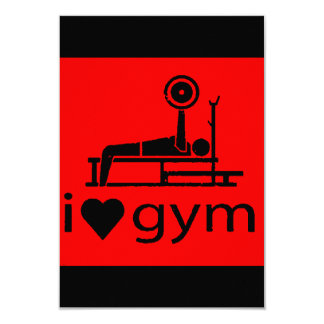 BACK IN BLACK RED I LOVE THE GYM WORKOUT WEIGHTLIF CUSTOM INVITATION