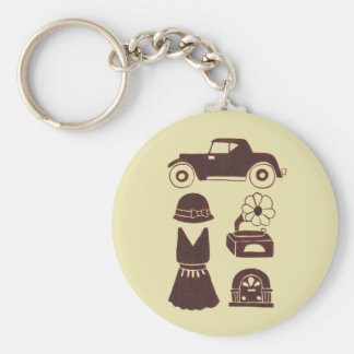 Back in the 20's basic round button keychain