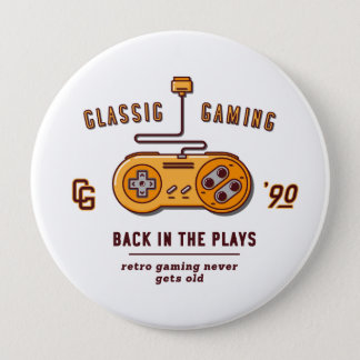 back in the plays - super nintendo pinback button