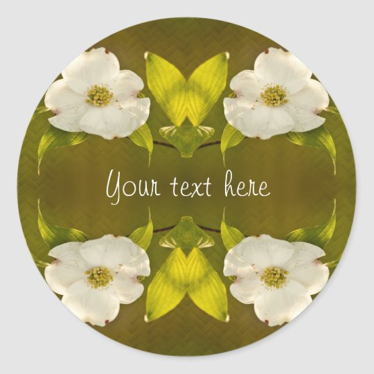 Back-lit Dogwood Blossom - Your Text Template Classic Round Sticker