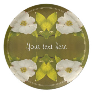 Back-lit Dogwood Blossom - Your Text Template Party Plates