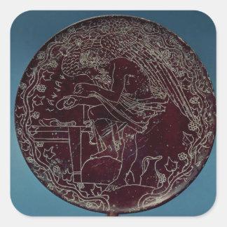 Back of a bronze mirror square sticker