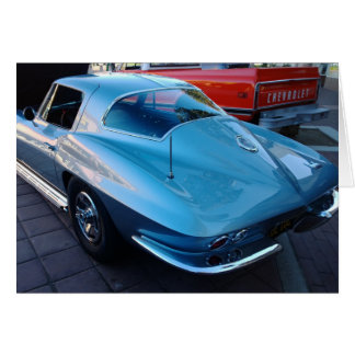 Back of a Classic Sky Blue Chevy Stingray Corvette Card