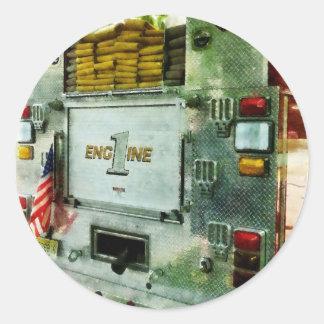 Back of Fire Truck Closeup Classic Round Sticker