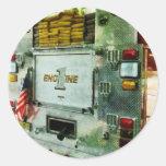 Back of Fire Truck Closeup Round Sticker