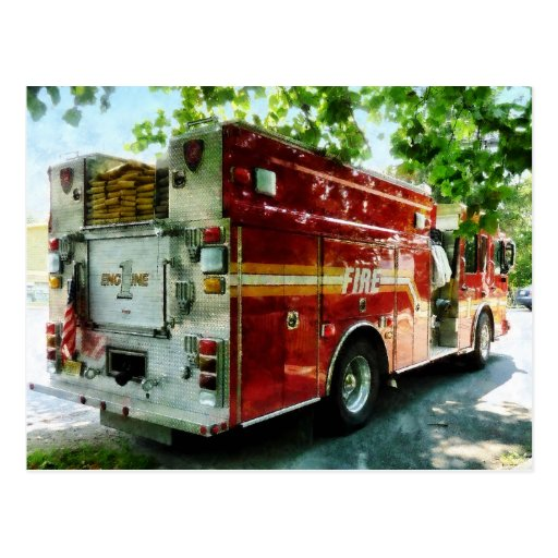 Back of Fire Truck Post Card