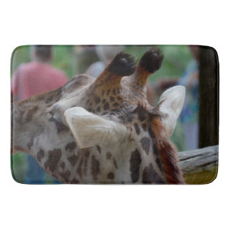 back of giraffe head animal image bath mat