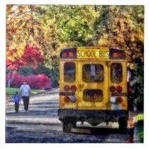 Back of School Bus Ceramic Tile