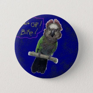 Back Off I Bite - Angry Parrot Pinback Button