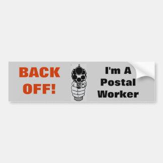 Back-Off I'm a Postal Worker Funny Sticker Car Bumper Sticker