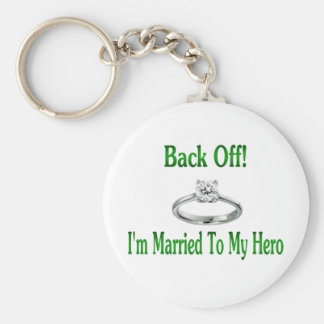 back off im married to my hero 2 keychain