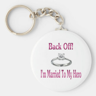 back off im married to my hero basic round button keychain