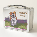 """Back Off Personalized Saint Bernard Luchbox Metal Lunch Box<br><div class=""""desc"""">This sweet dog is ready to defend your food with all the licks it takes. Solid metal container is great for protecting all your precious things like toys,  cards,  and food. Don&#39;t forget to personalize it.</div>"""