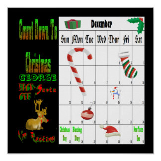 Back off Santa I'm Resting Count Down to Xmas Poster