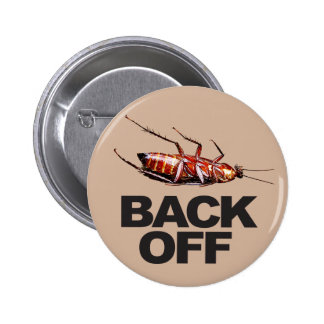 Back Off w/Roach - Round Button