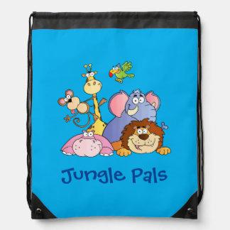 Back Pack--Jungle Animals Drawstring Bag