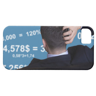Back portrait of a businessman confused with iPhone SE/5/5s case