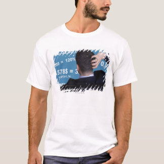 Back portrait of a businessman confused with T-Shirt