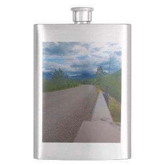 Back road to Polebridge Glacier National Park Hip Flask