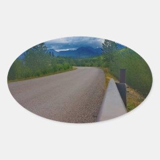 Back road to Polebridge Glacier National Park Oval Sticker