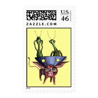 Back Seat Driver (Alien couple taking a drive) Stamps