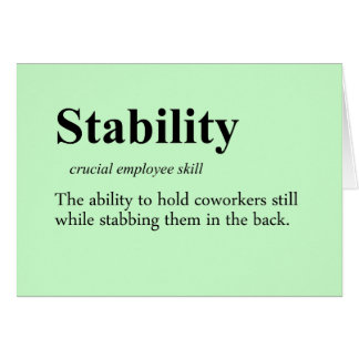 Back stabbing is an important employee skill card
