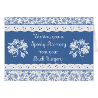 Back Surgery Get Well Floral Faux Lace Card
