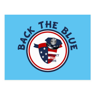 Back the Blue Shield and Police Hat Postcard