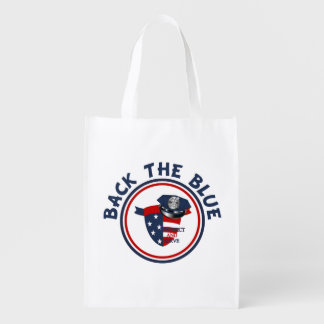 Back the Blue Shield and Police Hat Reusable Grocery Bag