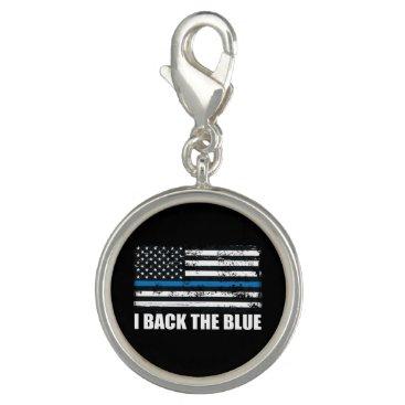 Back the Blue Thin blue line USA Flag MAGA WWG1WA Charm