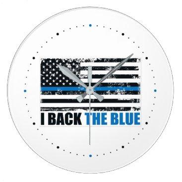 Back the Blue Thin blue line USA Flag MAGA WWG1WA Large Clock