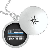 Back the Blue Thin blue line USA Flag MAGA WWG1WA Locket Necklace