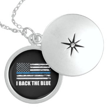 Back the Blue Thin blue line USA Flag MAGA WWG1WA Locket Necklace