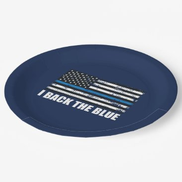 Back the Blue Thin blue line USA Flag MAGA WWG1WA Paper Plate