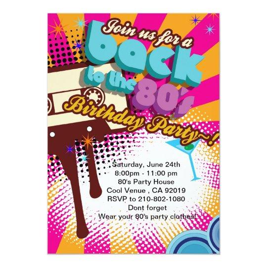 back to 80 s birthday party invitation zazzle com