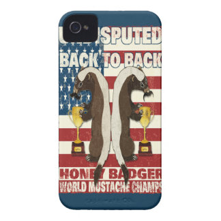 Back to Back Honey Badger World Mustache Champs Case-Mate iPhone 4 Case