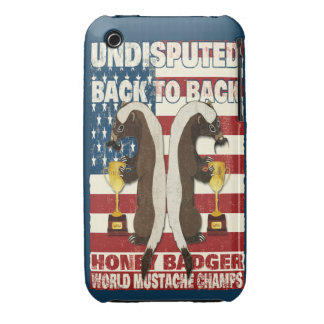 Back to Back Honey Badger World Mustache Champs Case-Mate iPhone 3 Case